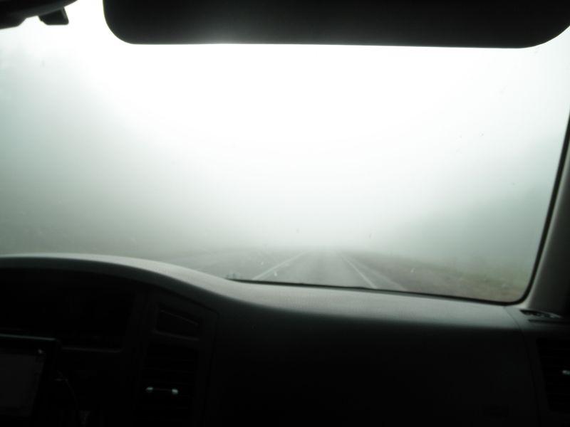"Трасса ""Сибирь"" около Канска. Туман. The route ""Siberia"" near Kansk. Fog."