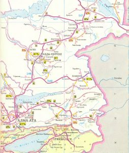 Карта маршрута. Алма-Ата. Map of the route. Alma-Ata.