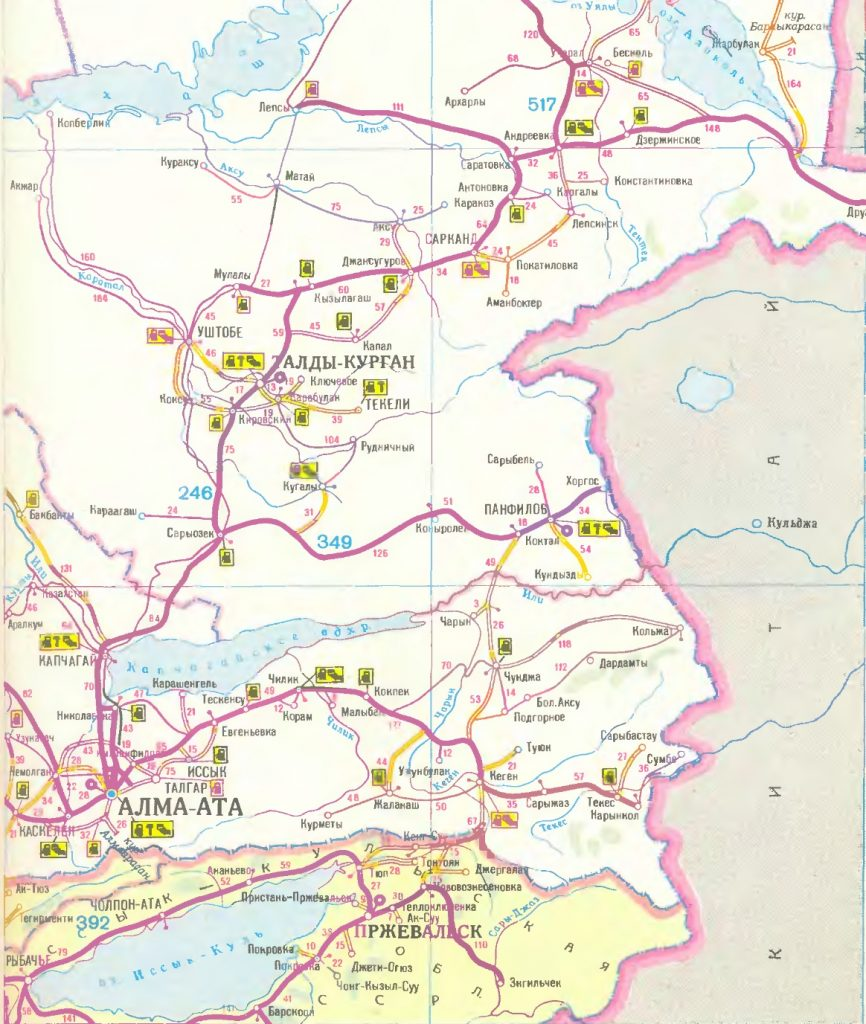 Карта маршрута. Алма-Ата. Route map. Alma-Ata.