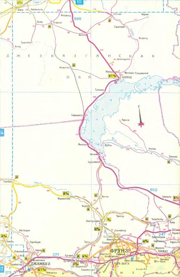 Карта маршрута Алма-Ата - Балхаш. Route map Alma-Ata - Balkhash.