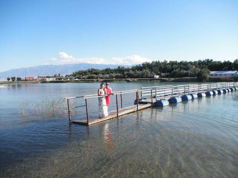 Озеро Алаколь. Мостик через залив. Lake Alakol. A bridge across the bay.