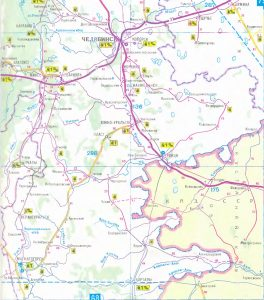 Карта маршрута. Челябинск. Трасса М5. Map of the route. Chelyabinsk. Highway M5.