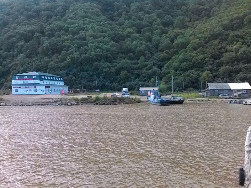 Село Подгорное. Паромная переправа через Амур.The village of Podgornoye. Ferry crossing the Amur.