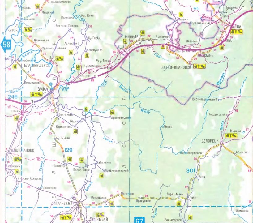 Карта маршрута Челябинск - Уфа - Стерлитамак. Map of the route Chelyabinsk - Ufa - Sterlitamak.