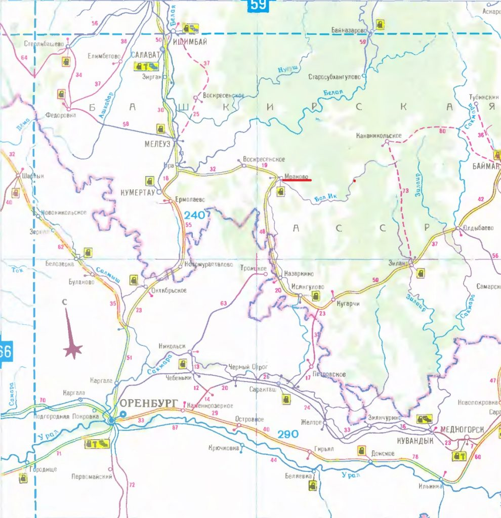 Карта маршрута Салават - Мраково. Map of the route Salavat - Mrakovo.