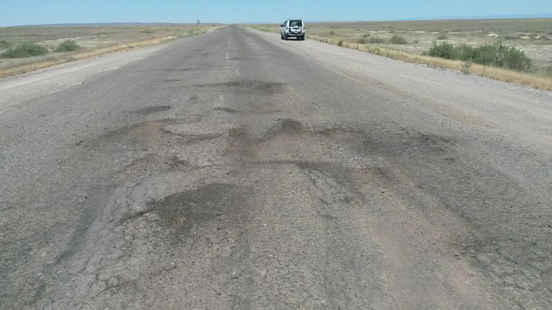 Плохая дорога от Аягуза до Калбатау. Bad road from Ayaguz to Kalbatau.