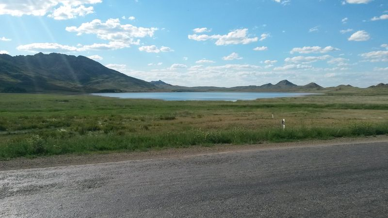 Дорога от Аягуза до Георгиевки. Озеро Каракол. The road from Ayaguz to Georgievka. Lake Karakol.