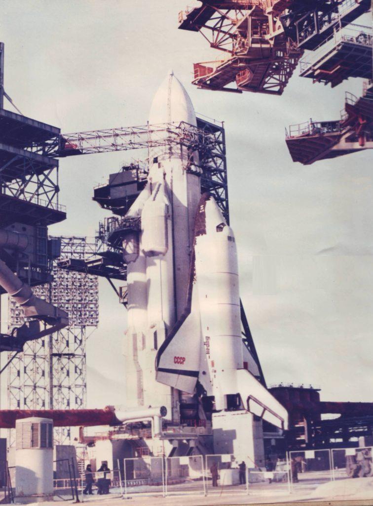 "Космический корабль ""Буран"" и ракета ""Энергия"". Космодром Байконур. 1988 год. Space shuttle ""Buran"" and booster ""Energy"". Baikonur Cosmodrome. 1988."
