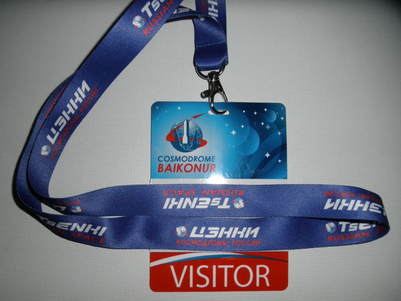 Бейджик посетителя космодром Байконур. Visitor badge of the Baikonur Cosmodrome.
