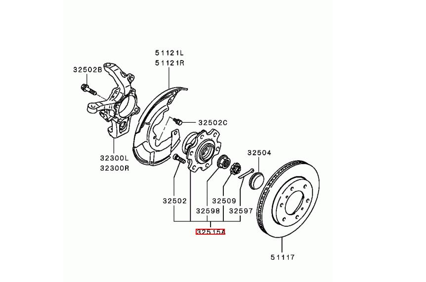 Ступица передняя с подшипником для Mitsubishi Pajero. Front hub with bearing for Mitsubishi Pajero.