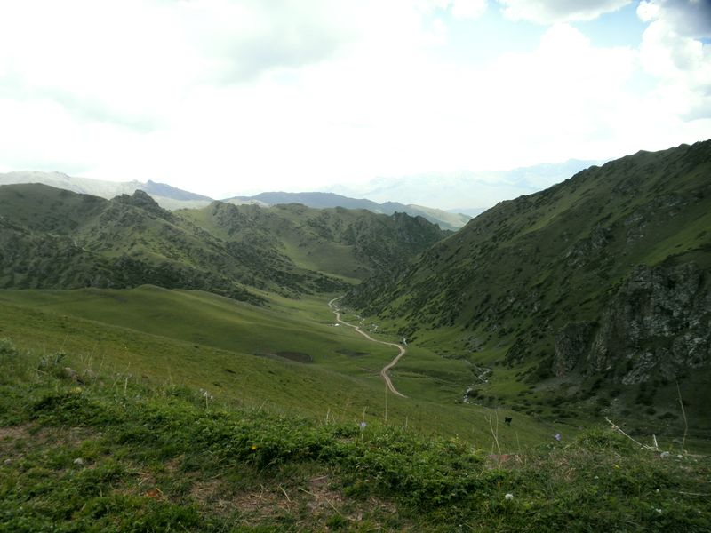 Горы Кетмень. Казахстан. Дорога к перевалу от реки Шалкудысу. Ketmen mountains. Kazakhstan. The road to the pass from the river Shalkudysu.