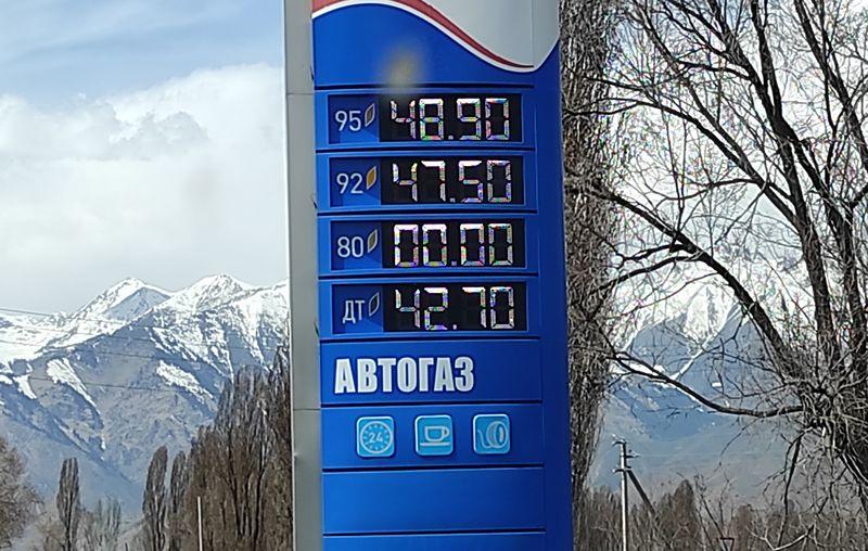 Дорога на озеро Иссык-Куль. Стоимость автомобильного топлива в Киргизии. 2021. The road to the Issyk-Kul lake. The cost of car fuel in Kyrgyzstan. 2021.